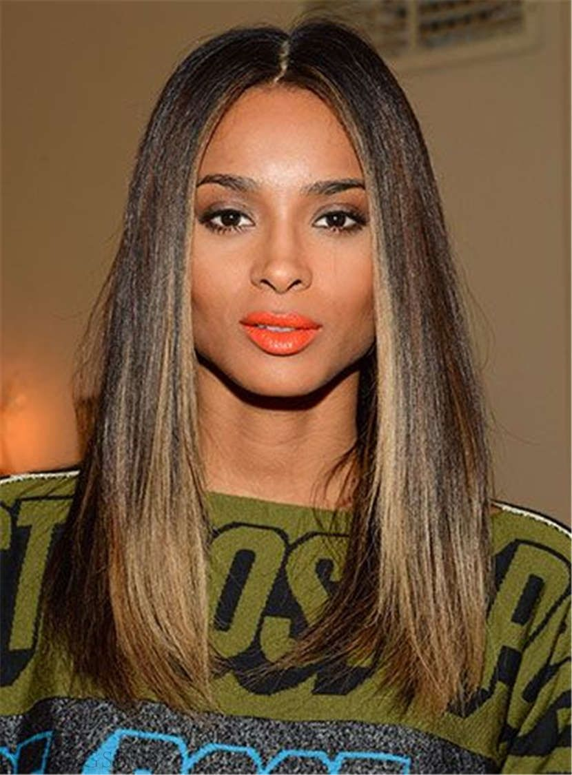 Ciara Hairstyles Ciara Hairstyles Blunt Cut Medium Straight Center Part Human Hair