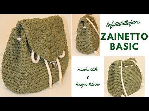 Tutorial zaino basic crochet backpack mochila crochet lafatatuttofare youtube for Schemi borse uncinetto