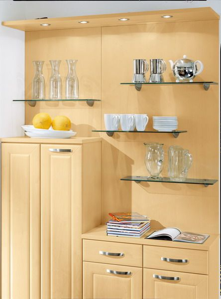 Bauformat kitchen glass shelves. http://bauformatusa.com ...