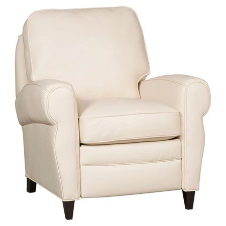 Attirant Upholstered In Rich Cream Hued Leather, This Handsome Arm Chair Features A  Reclining Design