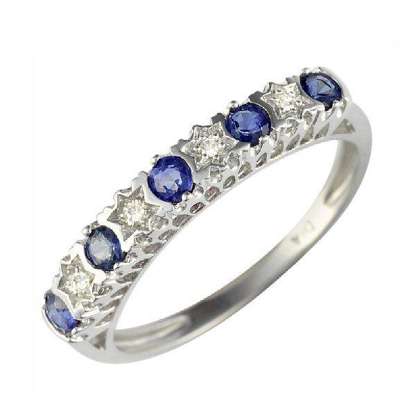 Ivy Gems 9ct Yellow Gold Blue Sapphire and Diamond Half Eternity Ring Mg39Ib