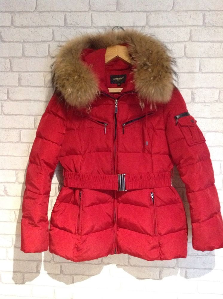 Paris Coat Hood Amazing Real Fur Red Jacket UK Size ATTENTIF mNOyv80wn