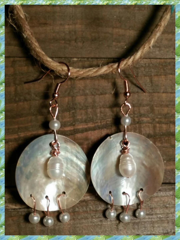 Pearl chandelier earrings,Mussel shell earrings,MOP ...