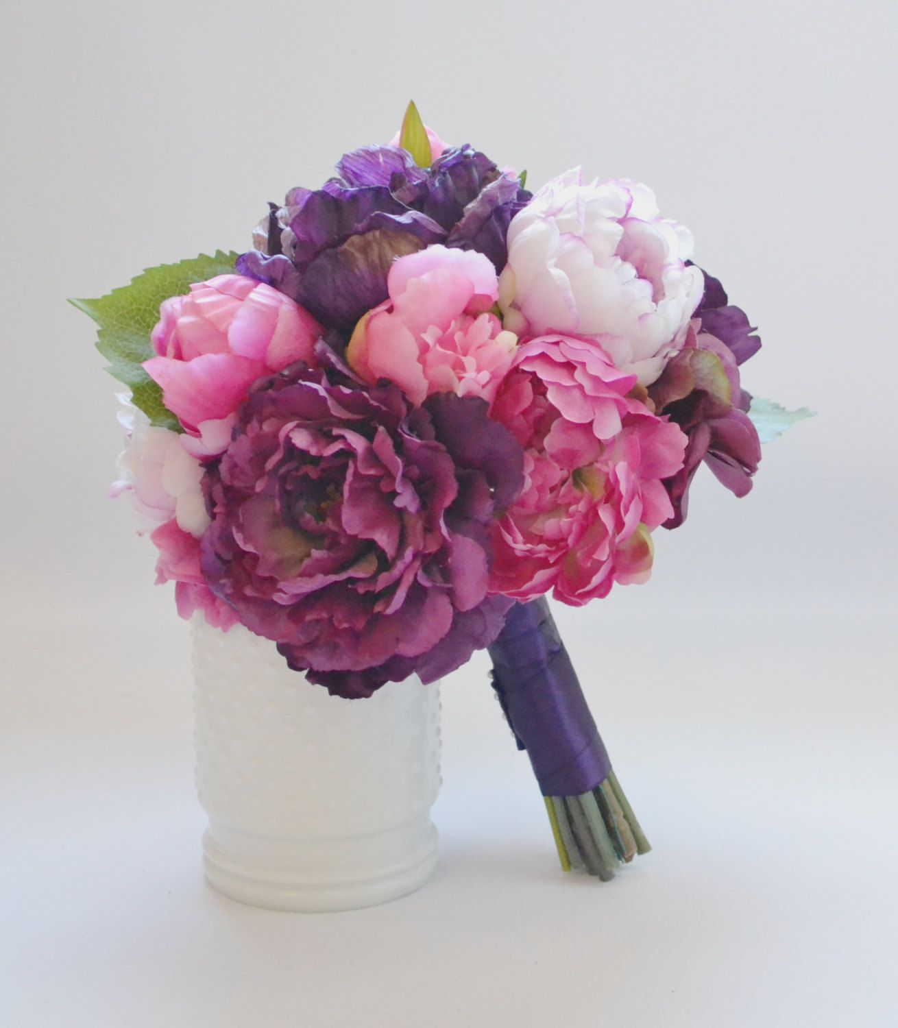 Peony Bouquet In Shades Of Fuchsia Purple Eggplant And Pink