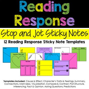 Reading Response Sticky Note Template  Notes Template