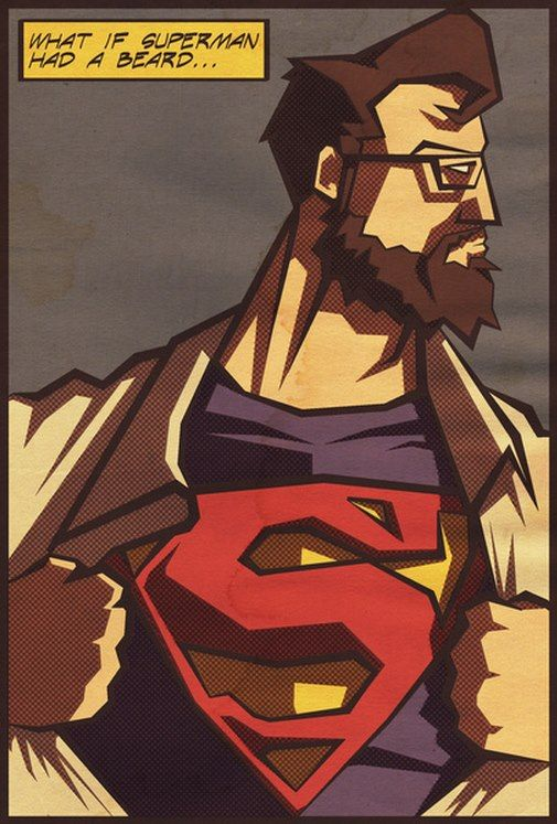 Superbearded Ilustraciones Barba Roja Hombre De Acero