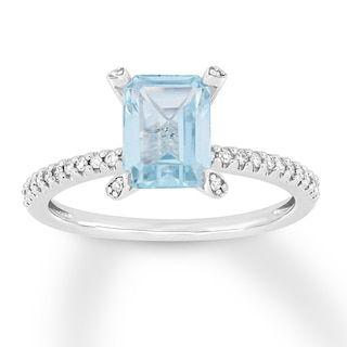 Aquamarine Engagement Ring 1 10 Ct Tw Diamonds 14k White Gold Jared In 2020 Aquamarine Engagement Ring White Gold Aquamarine Rings
