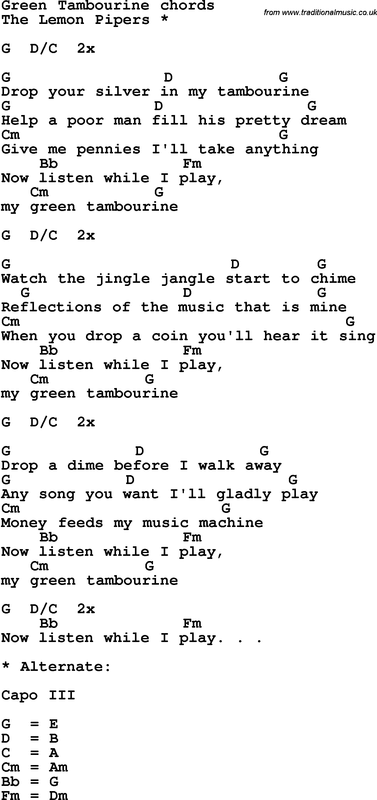 Song Lyrics With Guitar Chords For Green Tambourine Guitar