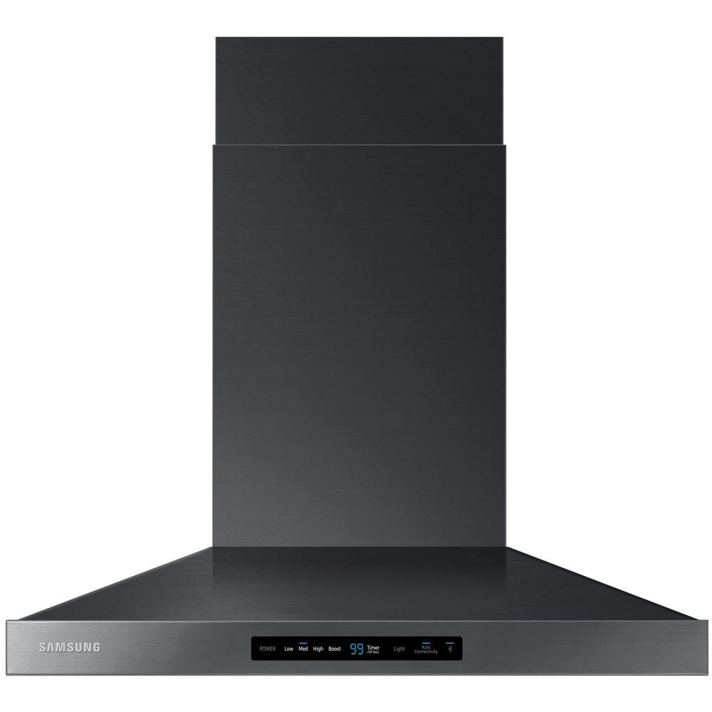 Samsung 30 In Wall Mount Range Hood Touch Controls Bluetooth Connected Led Lighting In Fingerprint Resistant Black Stainless Nk30k7000wg The Home Depot Black Stainless Steel Range Hood Black Stainless Steel Appliances