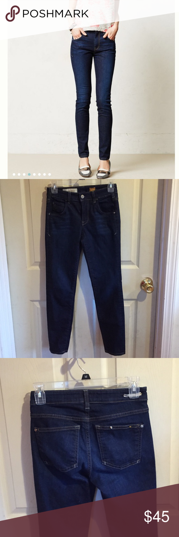 """Anthropologie Pilcro Superscript Jeans By Pilcro. These are a 24P; I wear a 25 and they fit me, so I think they could fit 24-25. Dark wash and comfy; cotton/polyester/elastane. Waist is about 13.5"""" flat no dip; rise is about 8.5; inseam is about 27""""; ankle is about 5"""" flat. They have a few tiny snags. Anthropologie Jeans Skinny"""