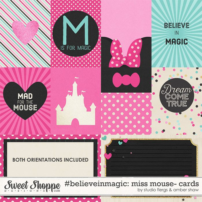 Minnie Mouse inspired, digital scrapbooking #believeinmagic: Miss Mouse Cards by Amber Shaw & Studio Flergs