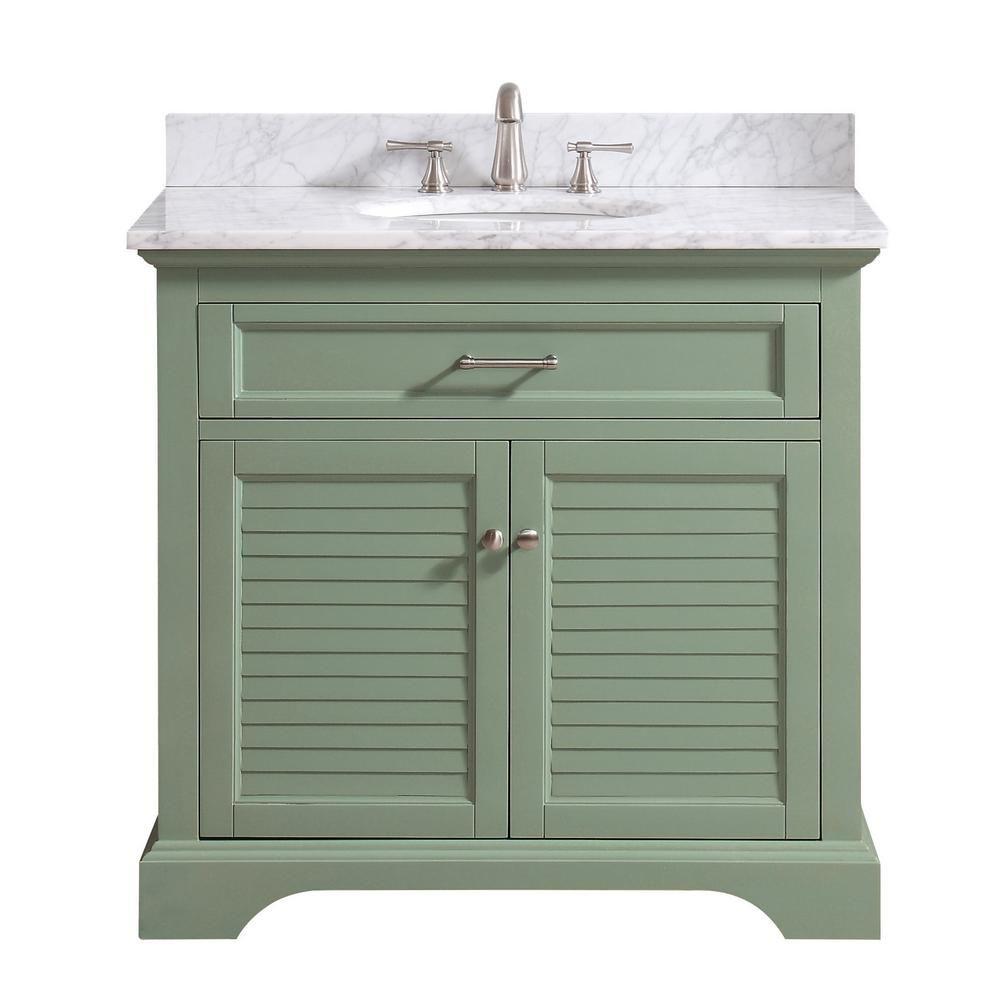 Avanity Colton 37 In W X 22 In D X 35 In H Bath Vanity In Basil Green With Marble Vanity Top In Carrara White With Basin Marble Vanity Tops Bath Vanities White Sink