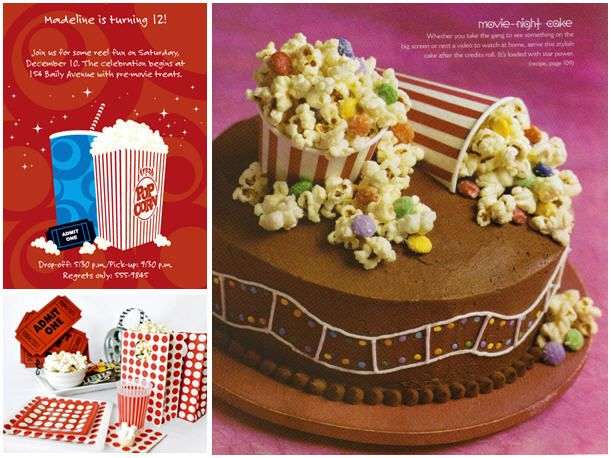 Movie party cake idea ~ LOVE the cups and candied popcorn!