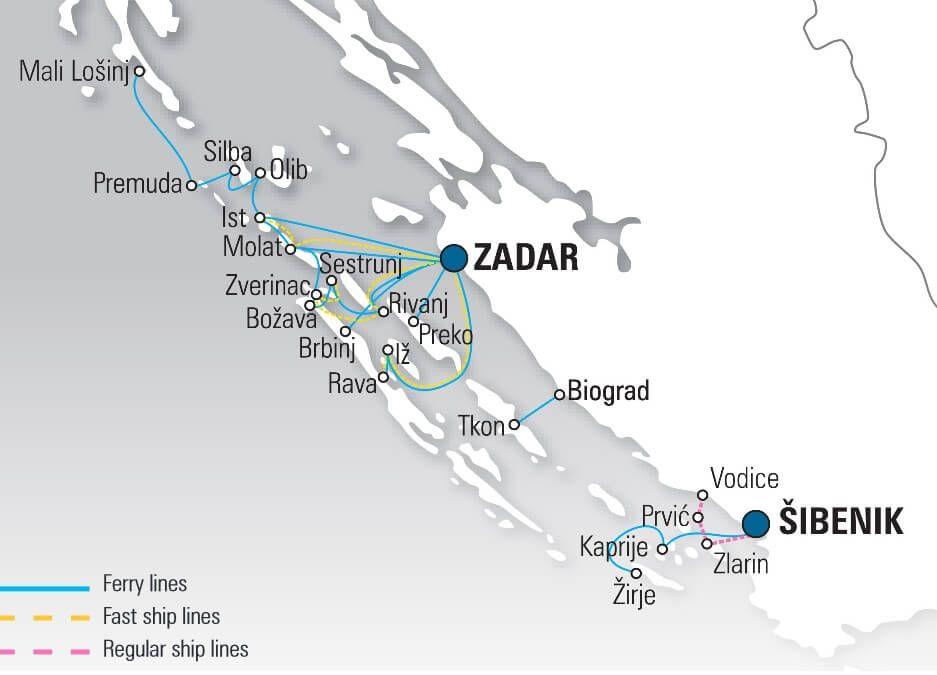 Carte Croatie Zadar.Carte Ferry En Croatie Depuis Zadar Zadar In 2019