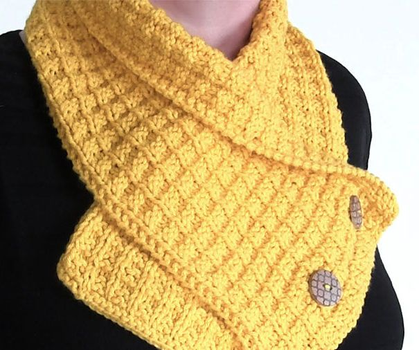 Free Knitting Pattern On Waffle Neck Warmer Knitting And Ponchos