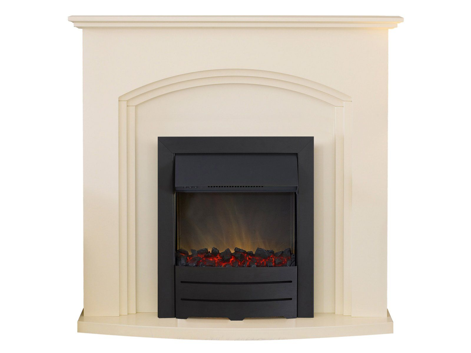 adam truro fireplace suite in ivory with colorado black electric