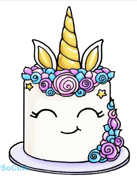 Unicorn Cake Cute Kawaii Drawings Unicorn Drawing Kawaii Unicorn