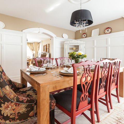 paneling dining room Pinterest Faux bamboo, Dining chairs and