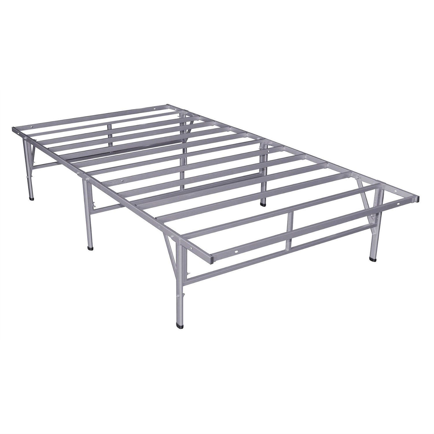 Twin Size Steel Platform Bed Frame In Silver Grey Metal Finish
