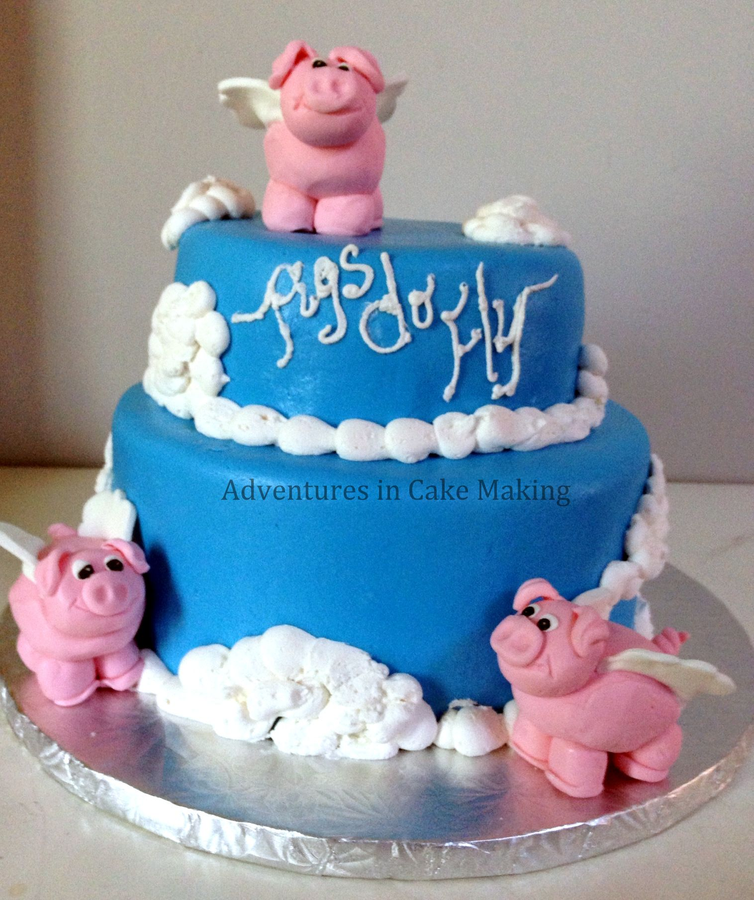 When Pigs Fly baby shower cake, the pis are my first modeling chocolate project