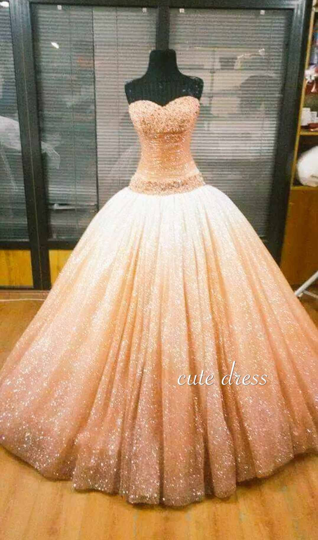 Unique sweetheart neck sequin ball gown long prom dress for teens