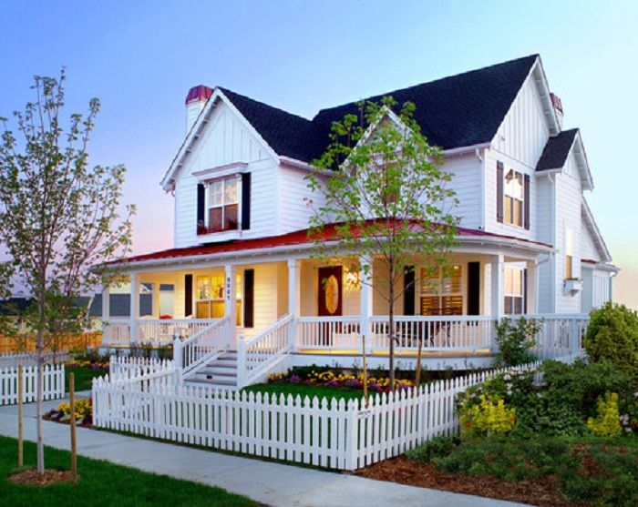 Front Porch Railing And White Picket Front Yard Fence With Flowers - Front yard fencing ideas
