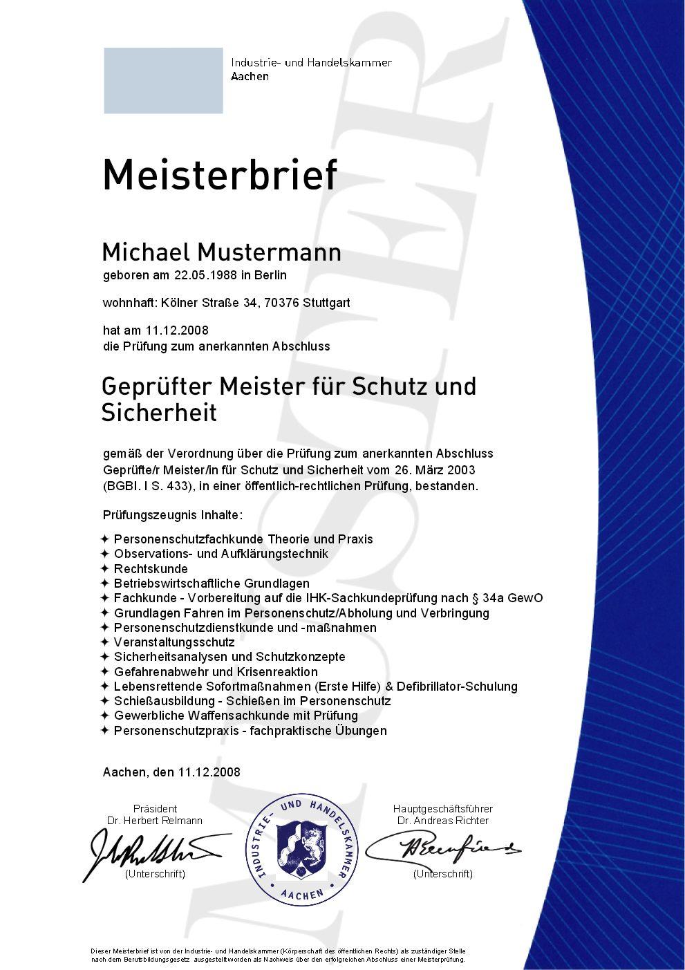 IHK Kommandoführer Personenschutz kaufen, Geprüfter Meister für ...