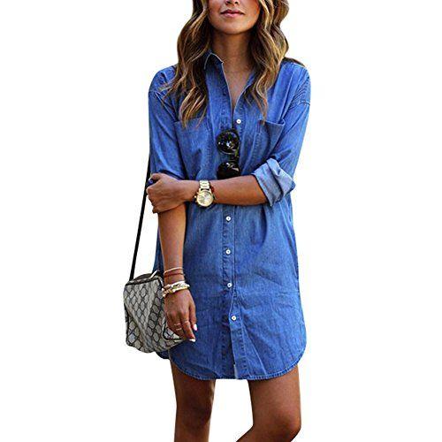 5242a1c97a Women s Casual Denim Shirt Short Mini Dress Button Down Pockets Long Sleeve  Blue Jeans Long Tops Blouse