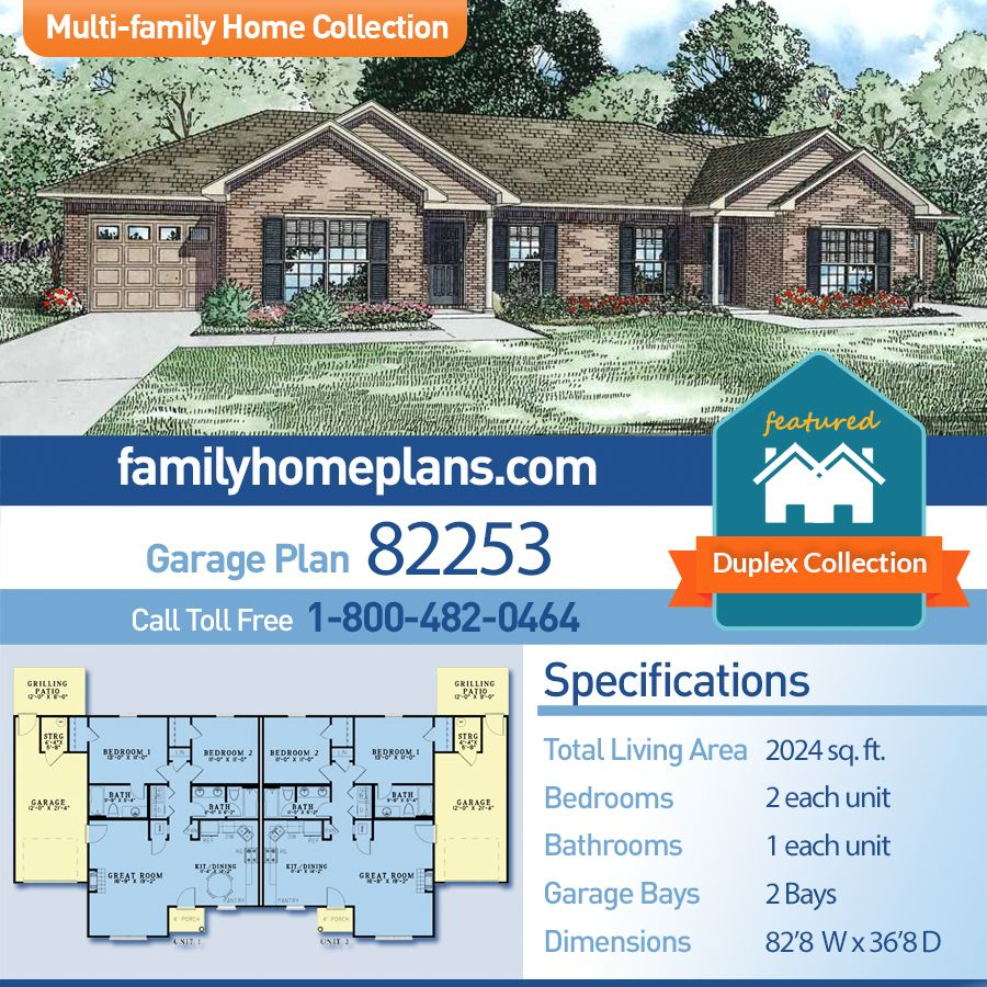 Traditional Style Multi Family Plan 82253 With 4 Bed 4 Bath 2 Car Garage Family House Plans Duplex House Plans House Plans