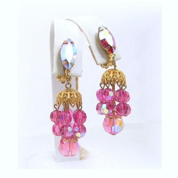 Lewis Segal Chandelier Earrings Pink AB by AtticDustAntiques ...