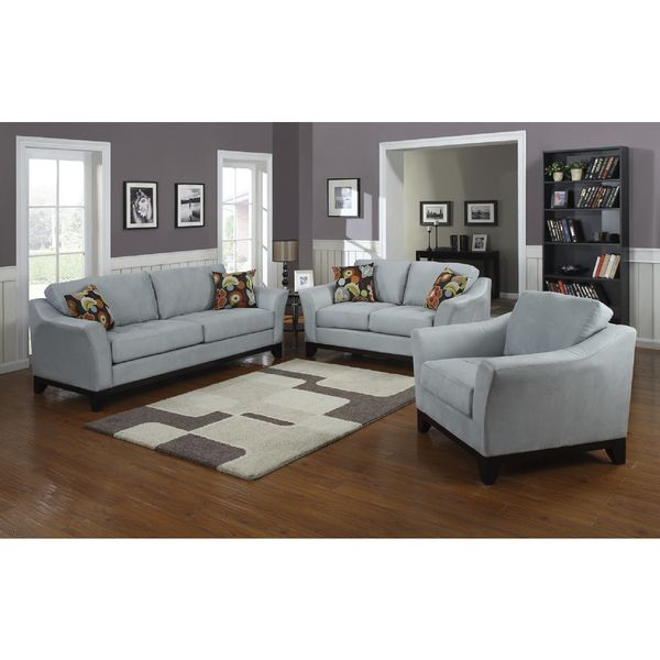 Porter Avalon Powder Blue Closeout Living Room Sofa/ Loveseat Set With  Woven Floral Accent Pillows