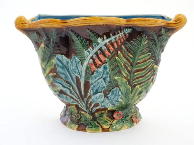 Decorated Fishing Urn A Large Minton Majolica Wall Planter  Jardineire  Decorated With