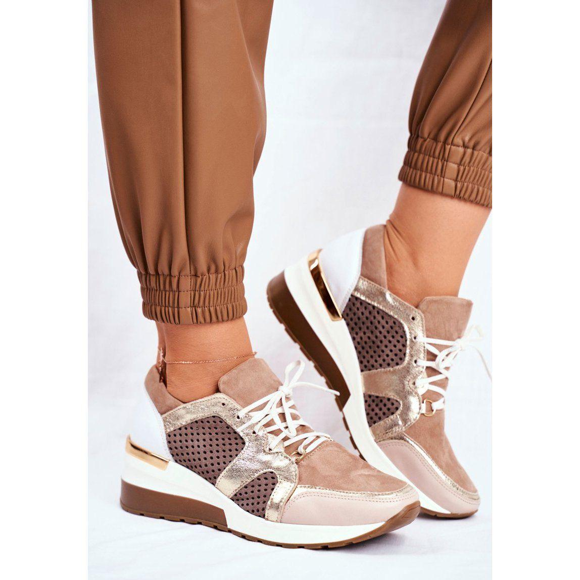 Sportowe Damskie Buty Skorzane Sneakersy Nicole Bezowe 2562 Daina Bezowy Sneakers Wedge Sneaker Shoes