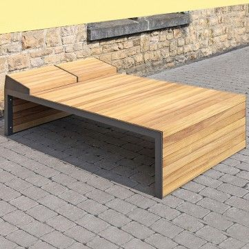 Linares Sun Lounger. A simple yet bold design created to perfectly complement Linares seats or benches and create a consistent, stylish look. Welded steel frame construction clad with timber slats. Length: 2004mm. Width: 800mm, 1200mm. Height: 510mm.