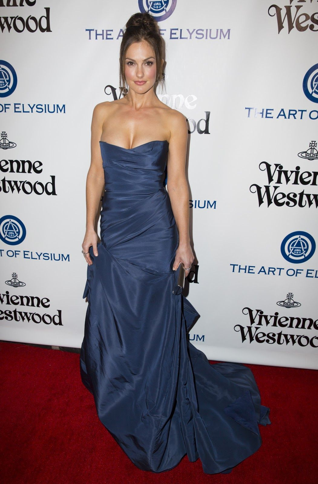 Minka kelly cleavage in a strapless blue dress wear itus at