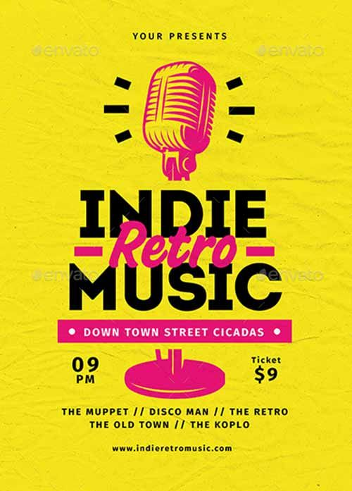 Indie Retro Music Flyer Template - http://ffflyer.com/indie-retro ...