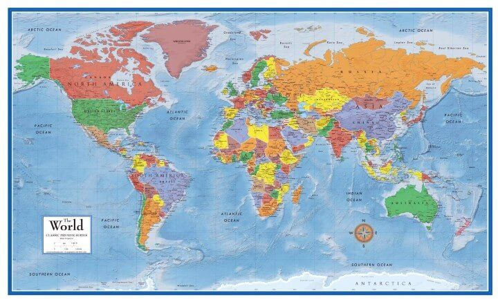 Swiftmaps World Premier Wall Map Poster Mapping The World - Map of the world