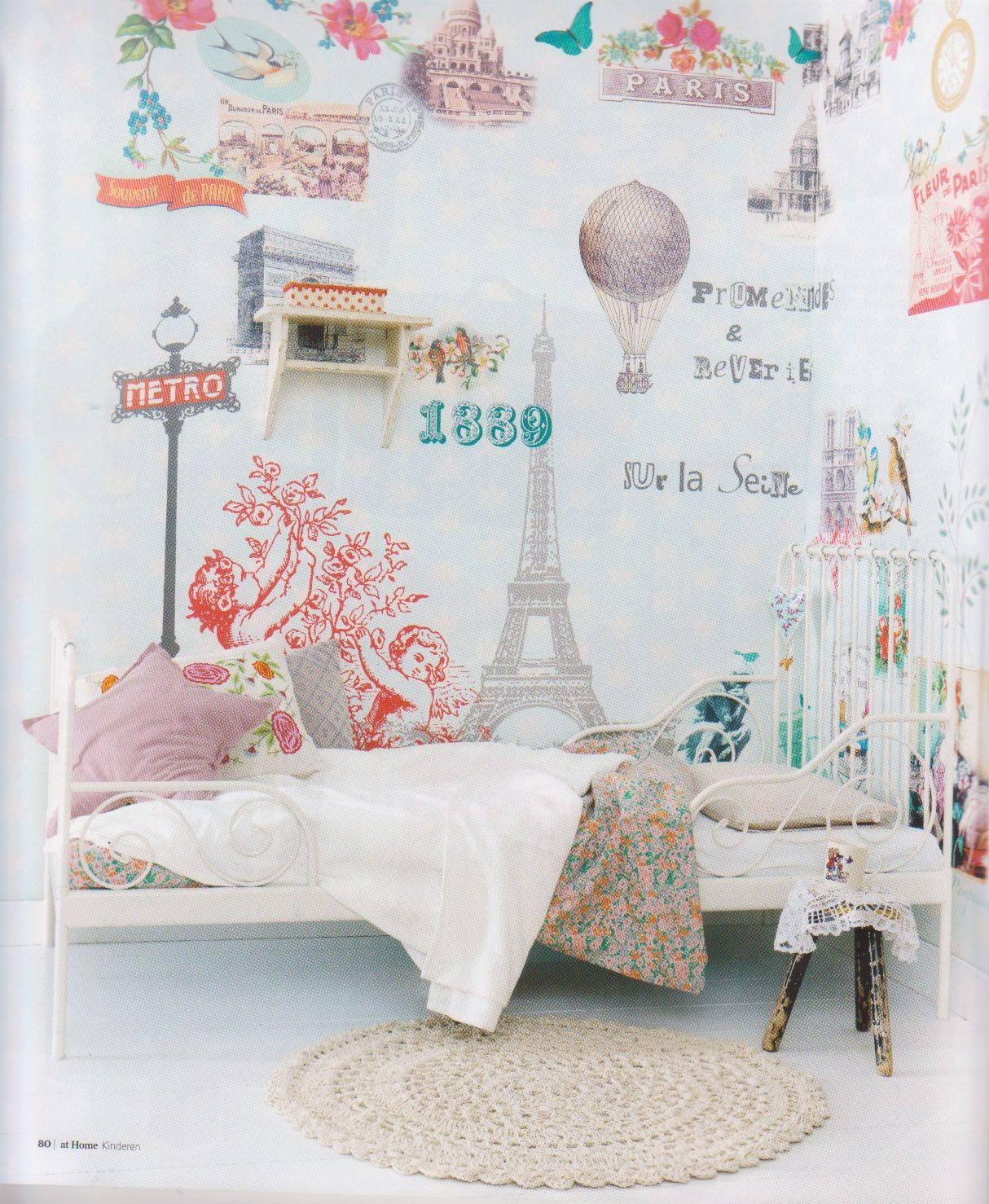 Parisian Baby Nursery Design Pictures Remodel Decor And: Paris Themed Girl's Room. Love The Wall Paper And Lady