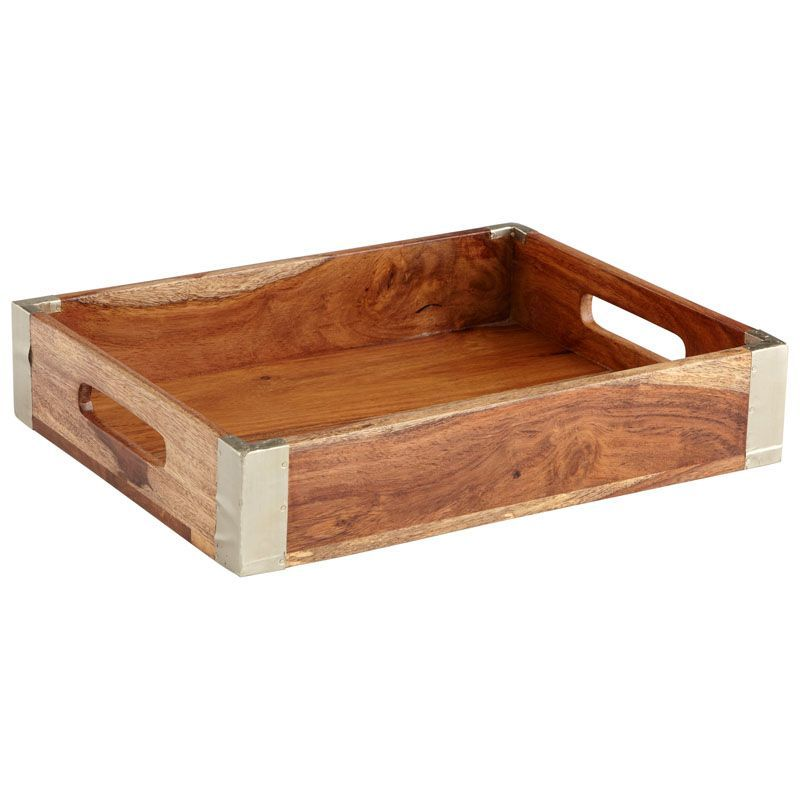 Cyan Design Wembley Tray Wembley 12.75 Inch Wide Wood Tray Made in India Bleached Reclaimed Wood Home Decor Accents Decorative Trays
