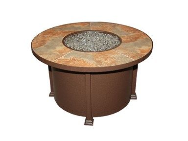 Shop For 42 Round Firepit With Metallic Brown Ceramic Tile Top