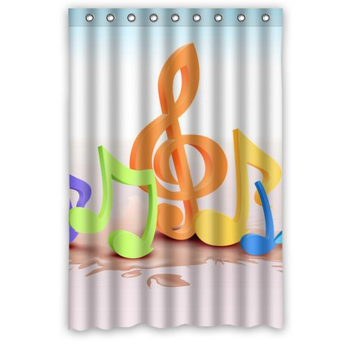 Eco Friendly Waterproof Polyester Music Musical Note Shower Curtain Bath Screen