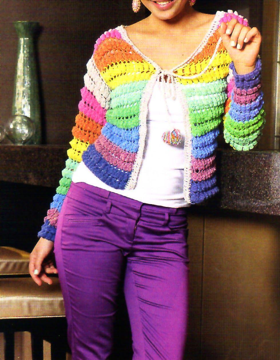 tejidos artesanales en crochet: saco multicolor tejido en crochet ...