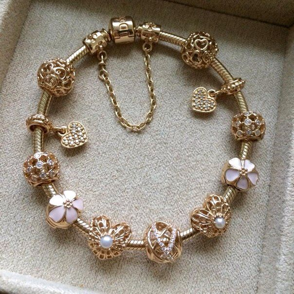 1d96ca204 GOLD PANDORA CHARM BRACELET- In the future you can get me a new charm for  every occasion (birthday, xmas, valentines, etc)