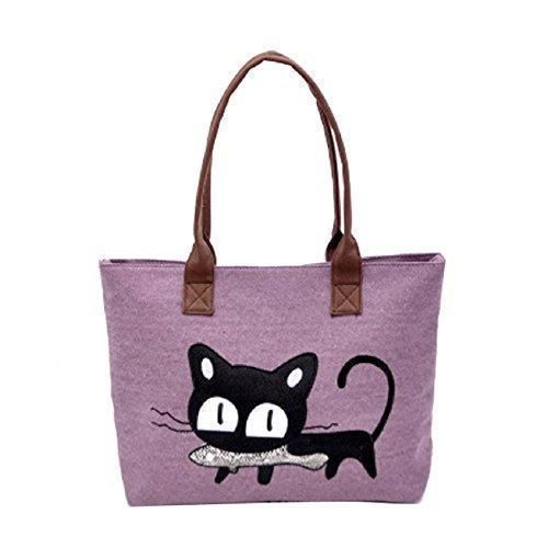 Women Bag Gillberry New Shoulder Canvas Cat Office Lunch Purple