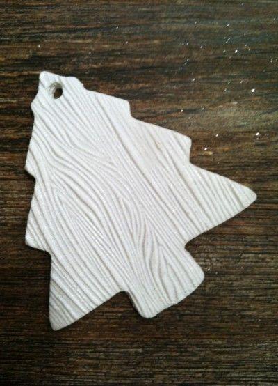 DIY Wood grain ornament (using a salt dough recipe & a rubber stamp).