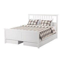 Hemnes Bed Frame With 4 Storage Boxes White Stain Full Ikea