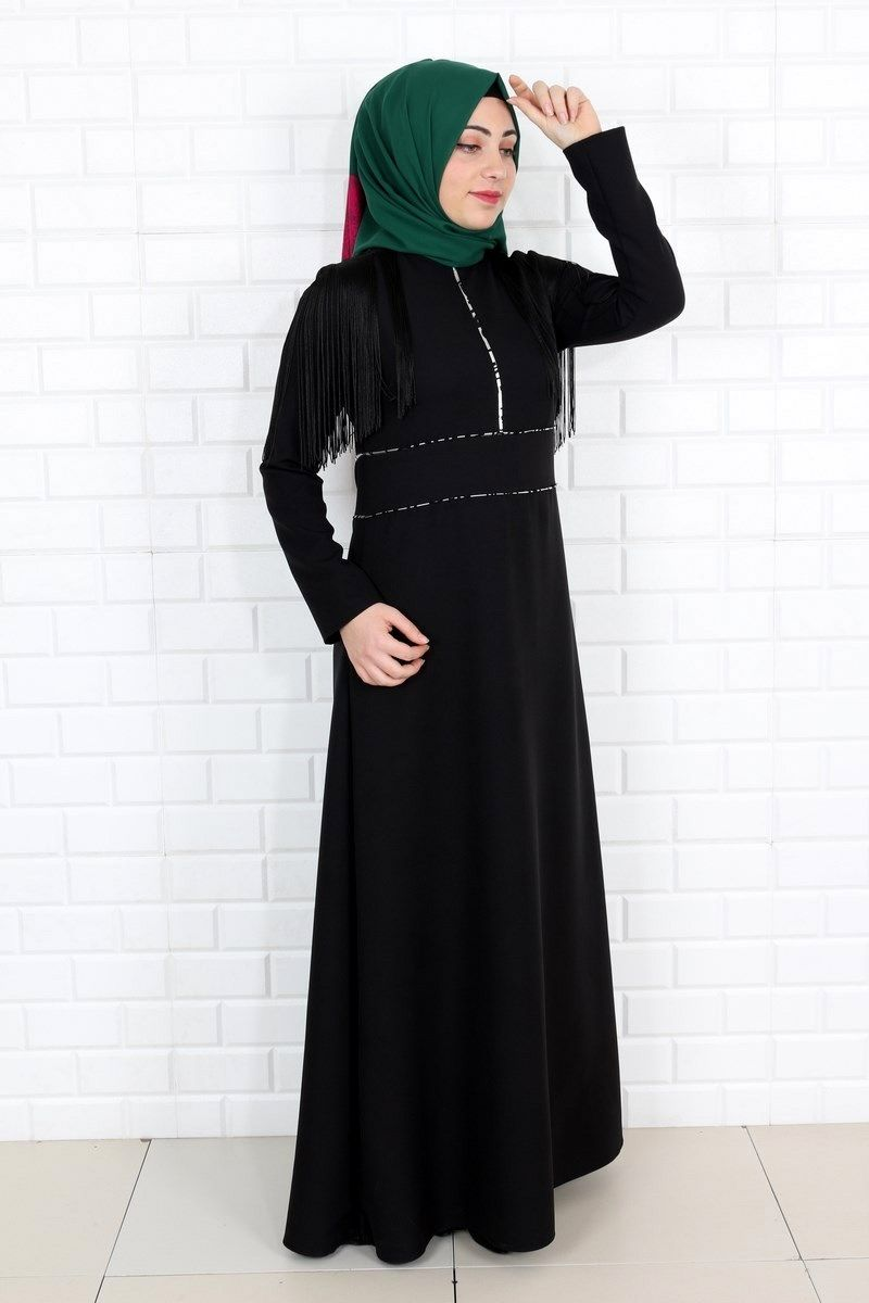a47e11098d773 Eymina Tesettür Püsküllü Elbise Modelleri | Tesettür | Elbise ...