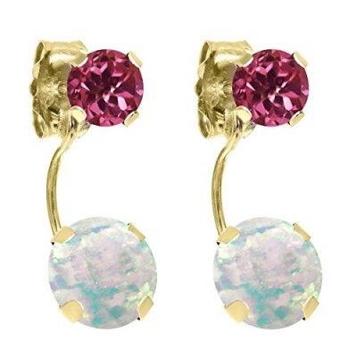 1.78 Ct Round Cabochon White Opal Pink Tourmaline 14K Yellow Gold Earrings