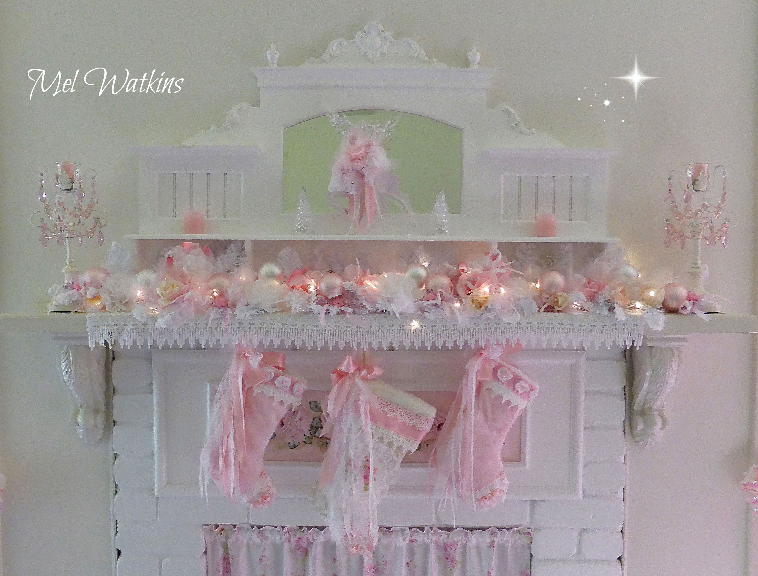 My Pink Shabby Chic Christmas Mantle )