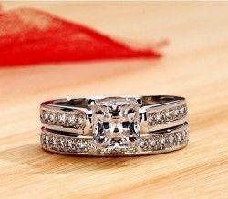1.5 Carat Princess Cut Diamond 925 Sterling Silver 2-Pc Engagement Bridal Ring Set